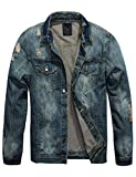 Omoone Mens Stylish Button Up Washed Ripped Distressed Denim Jean Trucker Jacket (Blue02, XS)