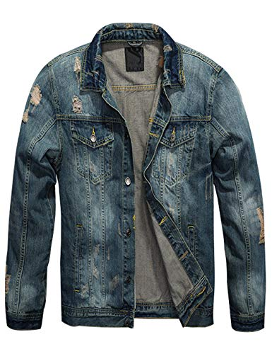 Omoone Mens Stylish Button Up Washed Ripped Distressed Denim Jean Trucker Jacket (Blue02, L)