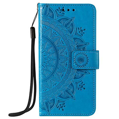 KARELIFE - Custodia a portafoglio per iPhone 12 da 6,1'', in pelle, con supporto magnetico in morbido silicone, antiurto, colore: Blu