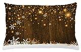 ABAKUHAUS Navidad Funda para Almohada, Fondo Rústico de Madera con Copos de Nieve y Cálida Estampa Festiva Tradicional, Material Lavable con Cremallera Colores No Destiñen, 65 x 40 cm, Blanco