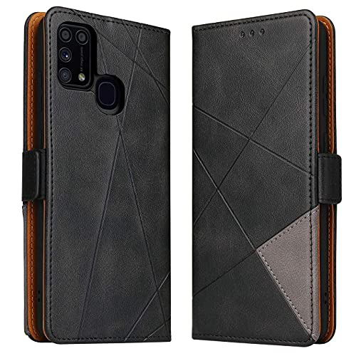 BININIBI Hülle für Samsung Galaxy M31, Klapphülle Handyhülle Schutzhülle für M31 Tasche, Lederhülle Handytasche mit [Kartenfach] [Standfunktion] [Magnetisch] für Samsung Galaxy M31, Schwarz