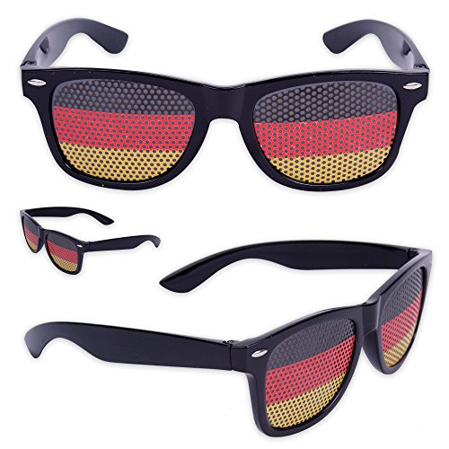 WOP ART Coole Fan Occhiali da Sole Occhiali WM Germania Occhiali in Nero Rosso Oro, Set da 3