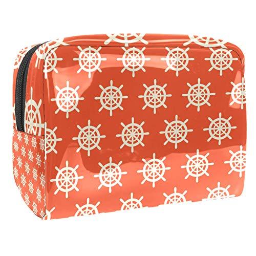 Bolsa de maquillaje portátil con cremallera bolsa de aseo de viaje para las mujeres práctico almacenamiento cosmético bolsa náutica timo naranja