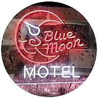 Blue Moon Motel Bar Pub Club Dual Color LED看板 ネオンプレート サイン 標識 白色 + 赤色 600 x 400mm st6s64-i2333-wr