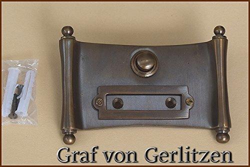 Graf von Gerlitzen Antik Messing Tür Klingel 1 Türklingel Klingelschild Klingelplatte Papyrus Dokumenten Rolle K84A
