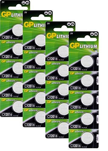 GP Batteries CR2016 3v Lithium Knopfzellen CR 2016 (3 Volt) 20 Stück Knopfbatterien für verschiedenste Anwendungen (Batterien einzeln entnehmbar)