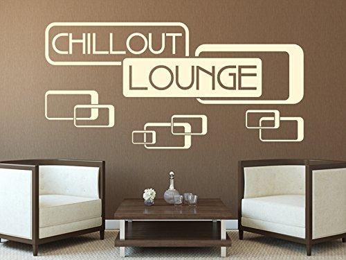 Schönes Wandtattoo - Chillout Lounge Retro Old School in der Farbe violett und der Größe 80 x 39cm für Wohnzimmer Esszimmer Schlafzimmer Wandaufkleber Wandsticker Aufkleber