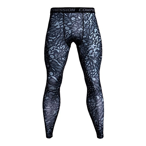 Celucke Sport Leggings Herren Strumpfhose Klassisch Laufhose mit Print, Pro Cool Compression Tights Funktionswäsche Quick Dry Kompression Hose für Fitness Gym Joggen