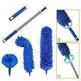Kit de limpieza de plumero con barra de extensión telescópica de 100 pulgadas, reutilizable, flexible, lavable, ligero, para limpiar ventiladores de techo