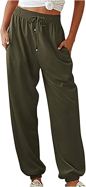 asjyhkr Womens Casual Solid Drawstring Sweatpants Lounge Elastic