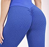 MLLM Ideal para Danza Correr Trotar Ejercicio,Pantalones de Yoga Florales de Cadera melocotón, Pantalones de Panal de Fitness-Blue_S,Polainas para Running Pilates Fitness