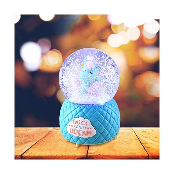 Musical Unicorn Snow Globe for Kids, 100mm Resin Glitter Music Box with Multiple Tunes, Gift for Girls - Blue 7