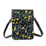 Bolso negro de la caja del teléfono celular de Crossbody de las naranjas, bolso de cuero de las ranuras para tarjetas del bolso de la cartera del teléfono del