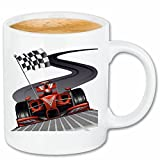 Reifen-Markt Kaffeetasse Formel 1 Rennwagen Flagge HOT Rod US CAR MUCLE CAR V8 Route 66 USA Amerika Keramik 330 ml in Weiß