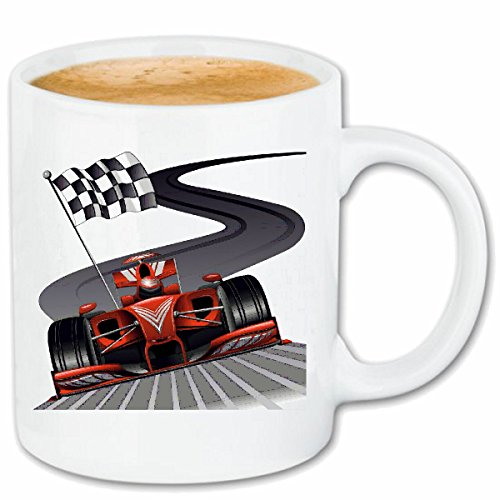 Reifen-Markt Kaffeetasse Formel 1 Rennwagen Flagge HOT Rod US CAR MUCLE CAR V8 Route 66 USA Amerika Keramik 330 ml in Weiß