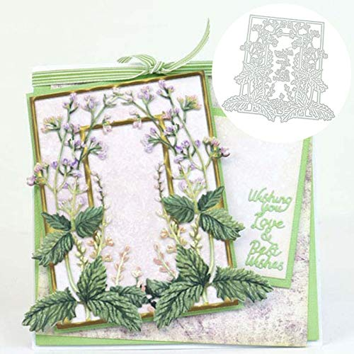 Scrapbooking Embossing Cutting Die,Hollow Out Flower Letters Frame Embossing Cutting Die Mold Scrapbook Album Decor - Silver