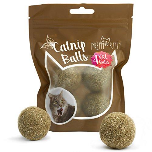 Pretty KITTY 4 x kattenmuntbal XXL (ø 4 cm) van 100% natuurlijke kattenmunt als spannend speelgoed voor katten (4-delige set, 95 g)
