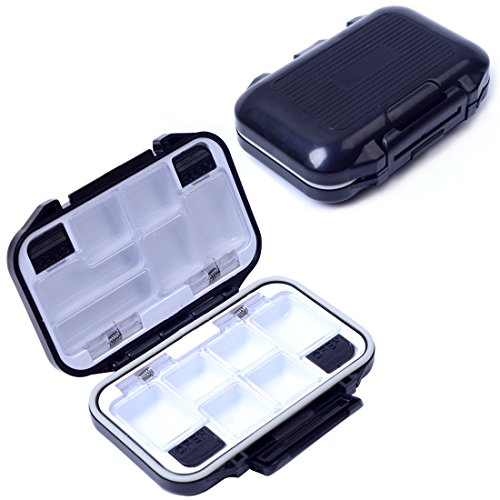 Agepoch Waterproof Fly Fishing Tackle Box Storage Box Fishing Lure Plastic Boxes for Bait Casting Fishing (Large/Gray)