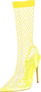 Cambridge Select Women's Pointed Toe Clear Transparent Mesh Fishnet Stiletto Extra High Heel Pump