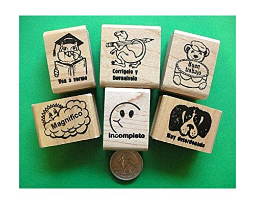 Spanish Only Teacher's Rubber Stamp Set of Six by Online Discounts Gifts