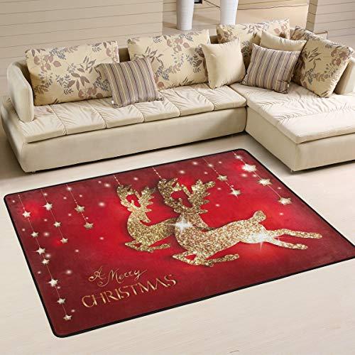 Mnsruu Weihnachts-Teppich mit goldfarbenem Hirsch, für Wohnzimmer, Schlafzimmer, Textil, multi, 183cm x 122cm(6 x 4 feet)