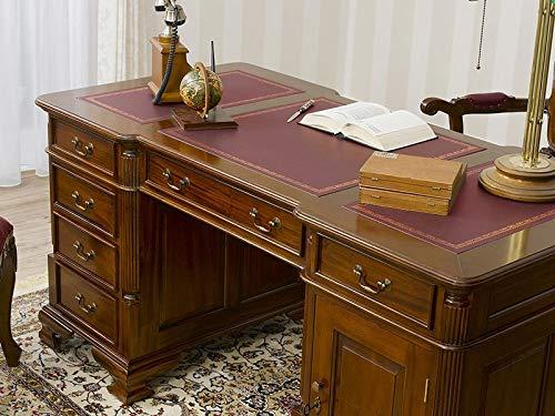 Simone Guarracino Partner Schreibtisch Victorian Englischer Stil Büro Doppelschreibtisch 150 cm walnuss Kunstleder Bordeaux