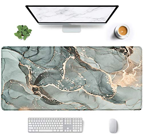 Desk Mat, Large Extended Gaming Mouse Pad XXL 35 x 15.7 Inch Big Mouse Mat Pad with Stitched Edges Waterproof Keyboard Mouse Mat Desk Pad for Work, Game, Gray&Gold Marble Hard Gaming Mouse Pad