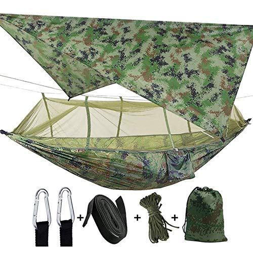 YRDDJQ Aerial tent Outdoor Camping 2 Person Hammock with Mosquito Net and Sun Shelter Portable Parachute Swing Hammocks,Camouflage