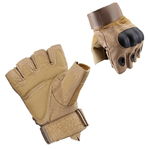 ACBungji Halber Finger Handschuhe Motorradhandschuhe für MTB Mountainbike Motorrad Motocross Quad Paintball Airsoft Security Tactical Militär KTM Fahrrad Rad Herren Damen Touchscreen (Sandfarbe, M)