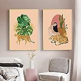 Frau und Tiger Poster Gepard Monstera Pflanzen Kunstdruck