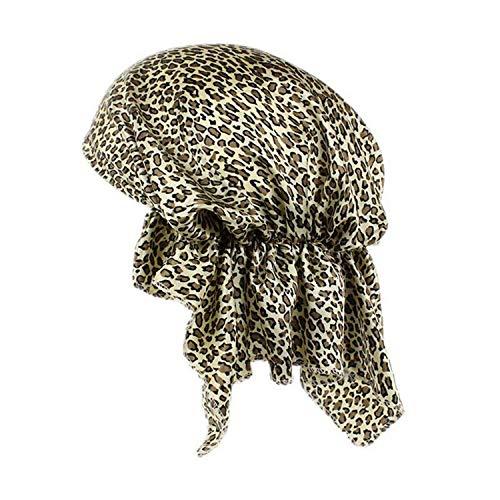 XGBDTJ Satin Stretch Chapeau Pour Femmes Chemo De Perte Cheveux Bonnet Cap Mode de Vie Head Wrap Couverture Léopard Imprimé Musulman Head Head Band (Color : Leopard, Size : One Size)