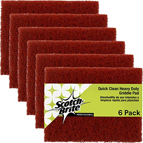 Scotch-Brite Griddle Cleaning, Quick Clean Heavy Duty Scour Pad, 4 in x 5.25 in, 6 Pads/Pack, For Baked On Food and Cooking Oils, Use on Hot or Cool Griddle
