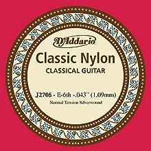La cuerda de repuesto perfecta para la sexta cuerda de tensión normal para guitarra clásica del juego J27 de D'Addario de nivel principiante. Tensión normal. Un equilibrio excelente entre valor y confiabilidad. Fabricado en EE. UU. para ofrecer la má...