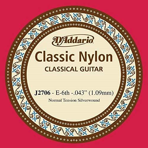 D'Addario J2706 - Cuerda individual de nailon para guitarra clásica, nivel principiante, tensión normal, sexta cuerda, plateado