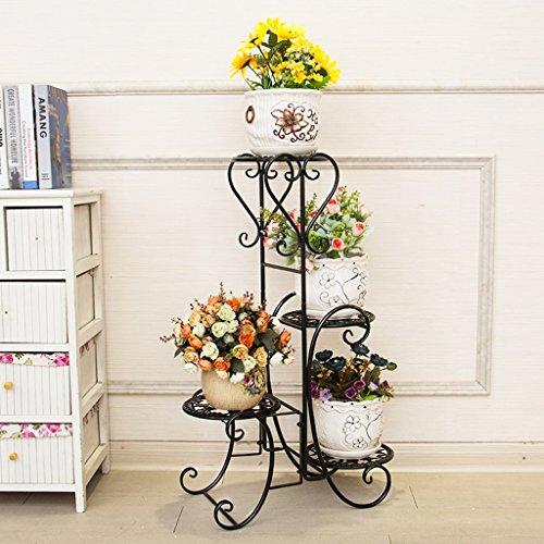 Fu Man Li Trading Company Porte-fleurs étagère de style européen étagère à étages à étages à étages étagère étagère étagère jardin fleur fleur verte A+ (Couleur : Noir)