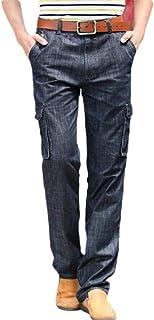 YYG Men Outdoor Straight Leg Classic Multi Pockets Jeans Loose Cargo Denim Pants Jeans