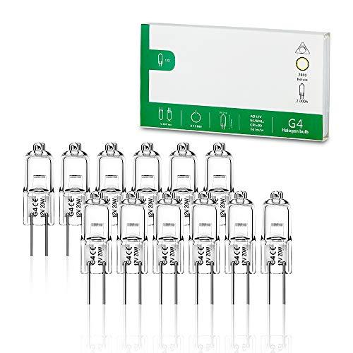 Jaenmsa 12er Pack G4 Halogenglühbirne 20W 12V 2800K 2 Pin klare Kapsellampen für Dunstabzugshauben Küchen Wohnzimmer Schlafzimmer