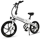 Bicicleta Eléctrica con Buje Integrado GT20, Bicicleta Eléctrica Plegable De 20 Pulgadas, Motor De Alta Potencia De 500 W, Batería Oculta De 48 V 10 Ah, Bicicleta De Montaña (Blanco)