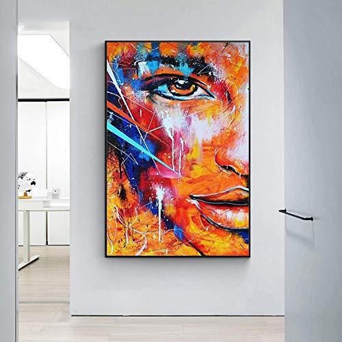 Mubaolei Pinturas abstractas en Lienzo de Media Cara, imágenes artísticas de Graffiti Moderno para decoración de Sala de Estar, Carteles e Impresiones 60x80cm
