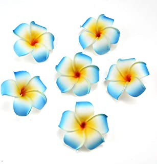 fake flowers heads Plumeria Hair Clip Hawaiian PE Foam Frangipani Artificial Flower for Wedding Party Decoration Fake Egg Flower Bouquets 20pcs 7cm (Blue)
