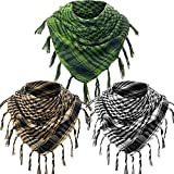 3 Arab Plaid Fringe Scarves Shemagh Keffiyeh Head Neck Scarf with Tassel for Tactical Outdoor Camping Accessory Unisex (Green, Sand Color, Black White)