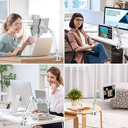 AboveTEK Long Arm Tablet Halterung, Faltbarer Tablet Halter 360 ° Swivel Clamp Halterung für Ipad, Handy, Switch, Samsung Galaxy Tabs, Nintendo Switch -Weiß