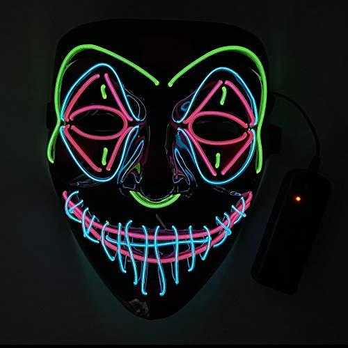 KEEHOM Maschera LED di Halloween, Costume Terribile da Teschio Scheletro Luminoso con 3 modalità, per Halloween Carnevale Natale Cosplay Grimace Festa Festival, Alimentato a Batteria (Non Inclusa)