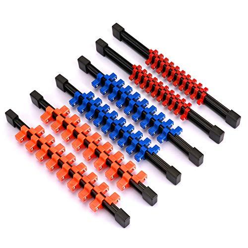 CASOMAN 6 Pieces Double Sided ABS Socket Organizer, 1/4' 3/8' 1/2', Mountable Sliding Tray Rack Tool Rail Holder, double side socket rails