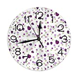 FEAIYEA Wall Clock Purple Ladybug Garden Violet Decorative Wall Clock Silent Non Ticking - 9.8Inch Round Easy to Read Decorative for Home/Office/School Clock