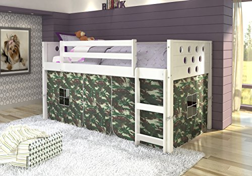 DONCO Kids Circles Low Loft Bed with Camo Tent, Twin, White
