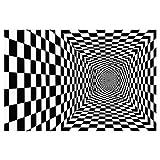 QINHE Alfombra De Área 3D, Alfombra A Cuadros En Blanco Y Negro Estéreo Visión Alfombra De Piso Vortex Ilusión Agujero A Cuadros Alfombra De Área Óptica Decoración del Hogar,9-180 * 200cm