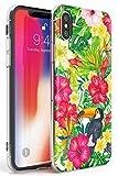 Case Warehouse Tucán Tropical Floral Slim Funda para iPhone XR TPU Protector Ligero Phone Protectora con Floral Sabroso Moda Verano Flores