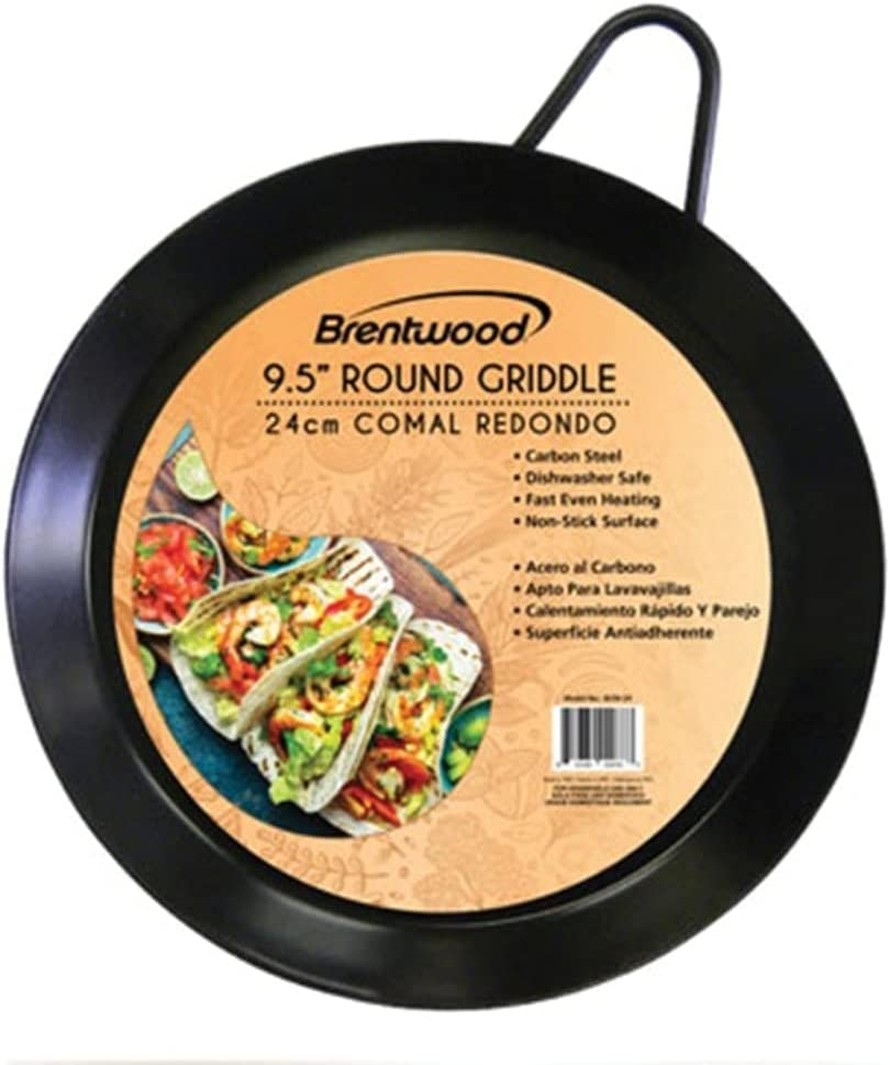 Brentwood Appliances BCM-24 Carbon Steel Non-Stick Round Comal Griddle (9.5-Inch) Pans, NORMAL, Black