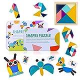GVOO Rompecabezas de Madera,Tangram Madera,36 PCS Montessori Puzzle de Madera y 60 PCS Diseño Tarjetas de Apilamiento y un Mini Tangram Infantil,Juguetes Educativos para Niños